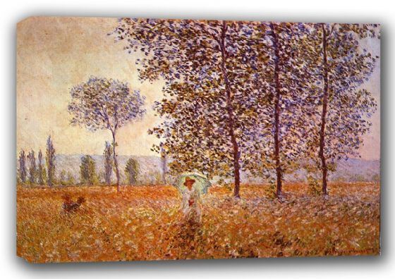 Monet, Claude: Poplars in the Sunlight. Fine Art Landscape Canvas. Sizes: A3/A2/A1 (00771)
